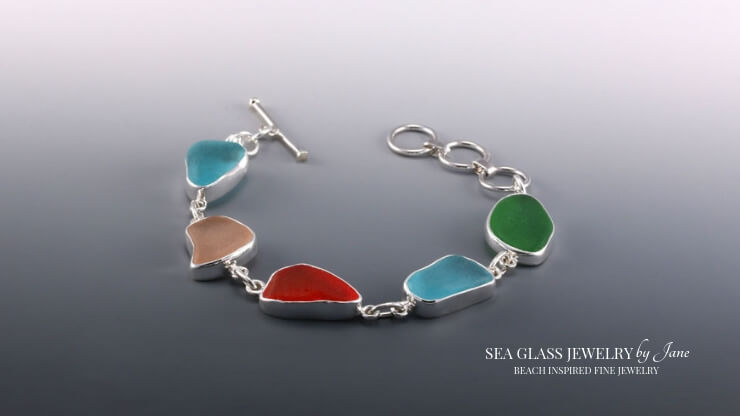 Rarest Colors Sea Glass Bracelet For Valentine's Day