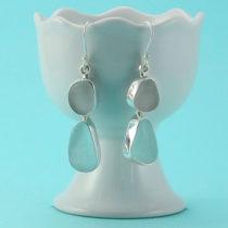 Aqua Lavender Sea Glass Bezel Set Earrings. Genuine Sea Glass. Sterling Silver. Ready For Fast, Free Shipping.
