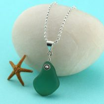 Olive Teal Green Sea Glass Necklace