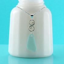 Perfect Aqua Sea Glass Pendant. Genuine Sea Glass. Sterling Silver. Ready For Fast, Free Shipping.