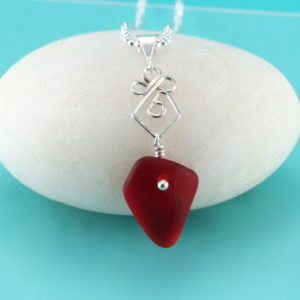 Rare Red Sea Glass Pendant. Genuine Sea Glass. Sterling Silver. Ready for Fast. Free Shipping.