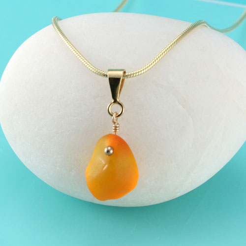 Small Amberina Sea Glass Pendant With Gold Vintage