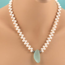 Aqua Sea Glass and Pearl Necklace. Genuine Sea Glass, Freshwater Pearls. One Of A Kind. Ready For Fast, Free Shipping.