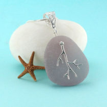 Frosty Lavender Sea Glass Pendant with Charm. Genuine sea glass. Sterling silver. Ready for fast, free shipping.