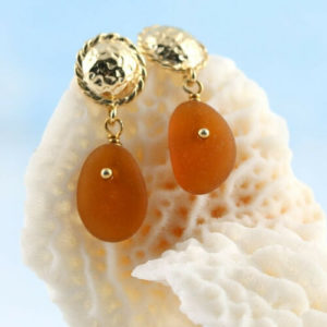 Amber Sea Glass Earrings Colors