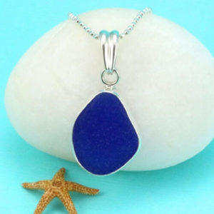 Blue Sea Glass Pendant Necklace Bezel Set Colors