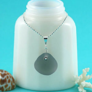 Grey Sea Glass Pendant Necklace Colors