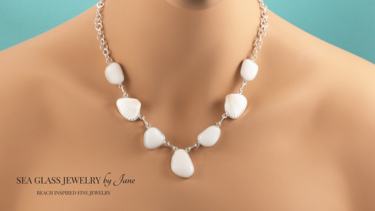 OPAQUE WHITE SEA GLASS AND SHELL NECKLACE