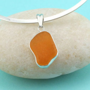 Orange Sea Glass Pendant Necklace Colors