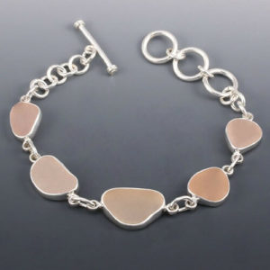 Pink Sea Glass Bezel Set Bracelet Colors