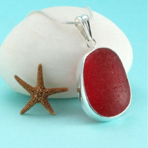 Red Sea Glass Bezel Set Pendant Necklace Colors