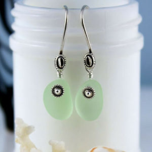 UV Green Sea Glass Earrings