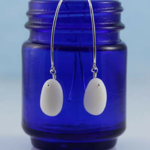 White Sea Glass Earrings Colors