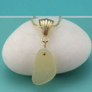 Yellow Sea Glass Pendant Necklace Colors