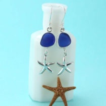 Cobalt Blue Sea Glass Earrings with Starfish Charms. Genuine Sea Glass. Sterling Silver.