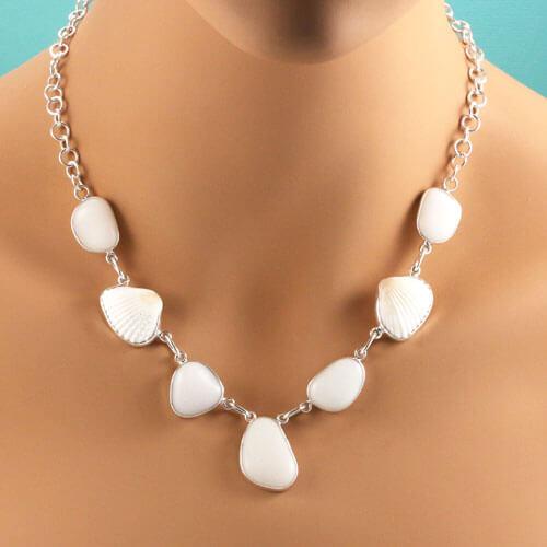 Beach Glass Pendant white milk glass White Scottish Milk Sea Glass Necklace sterling silver double sided wave design setting