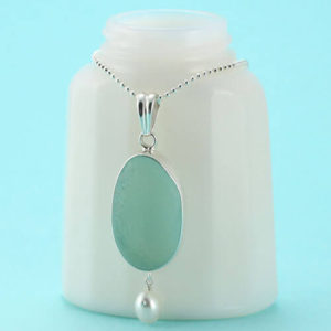 Aqua Sea Glass Pendant with Pearl