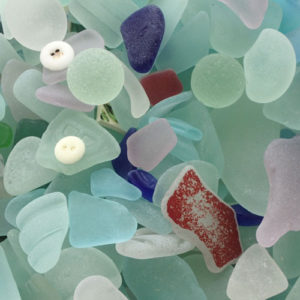 Bermuda Sea Glass With Codd Marbles and Button