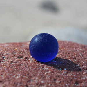Blue Sea Glass Marble On Rock Puerto Vallarta Beach