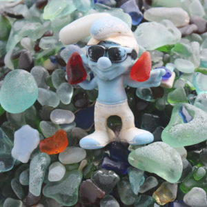Kauai Sea Glass and Smurf Doll