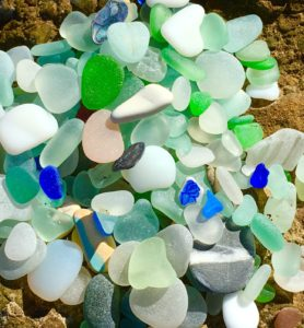 Still on the beach unsorted sea glass