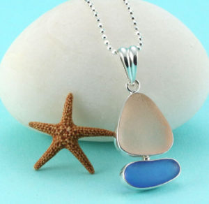 Sea glass sailboat shaped pendant