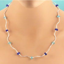 Aqua and Blue Sea Glass Designer Necklace