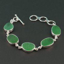 Lime Green Sea Glass Bracelet