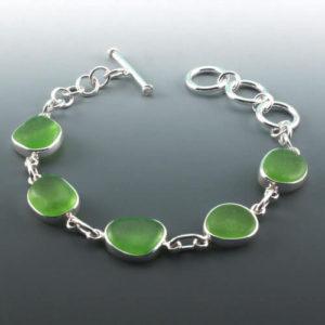 Lime Green Sea Glass Bracelet