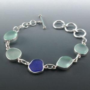 Cobalt & Sea Foam Sea Glass Bracelet
