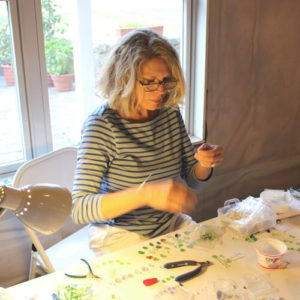 Jane of Sea Glass Jewelry by Jane Working In Her Studio