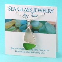 Sea Glass Necklace Sailboat Lime Green and White