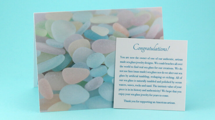 Free Sea Glass Notecard with each Sea Glass Jewelry Purchase.
