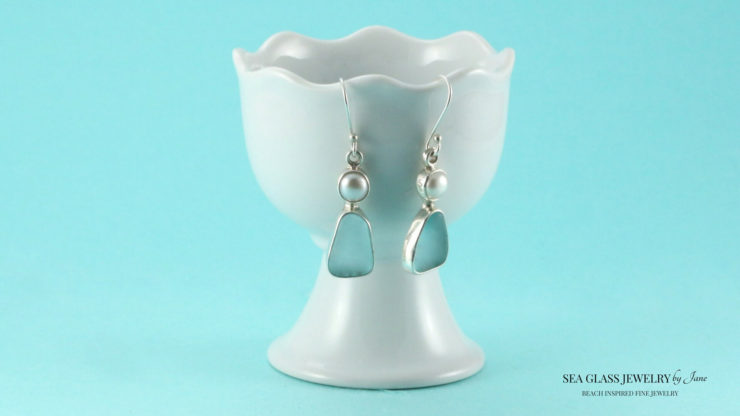 Aqua Sea Glass Earrings with Pearls