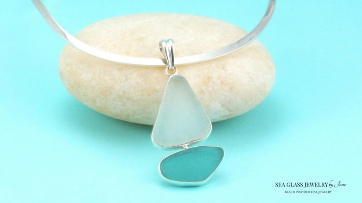Aqua-Sea Glass Sailboat Pendant
