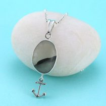 Gray and White Sea Glass Pendant with Anchor Charm