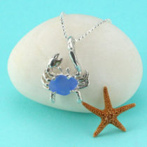 Cornflower Blue Sea Glass Crab Pendant