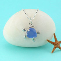 Cornflower Blue Sea Glass Turtle Pendant and Sterling Silver Necklace