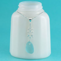 Deep Aqua Sea Glass Pendant with Leaf Accent