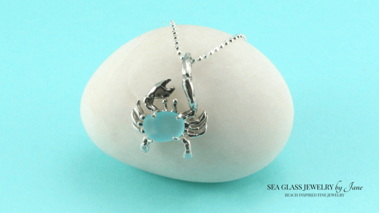 Aqua Sea Glass Crab Charm n619 Sea Creature Jewelry Collection