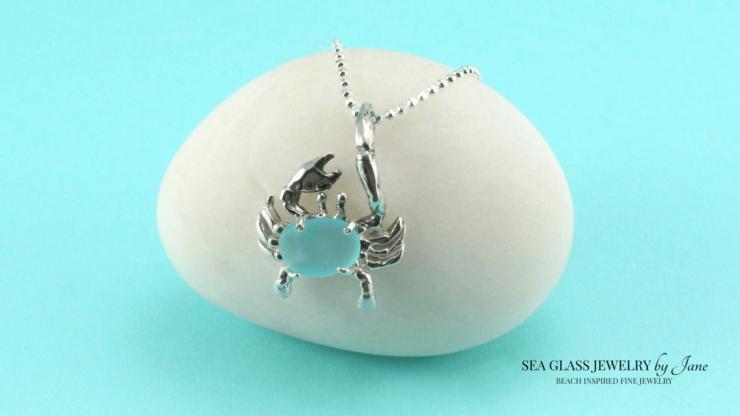 Aqua Sea Glass Crab Charm n619 Sea Creature Jewelry Collection