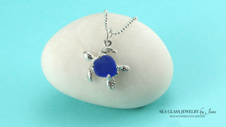 Blue Sea Glass Turtle Charm n623 Sea Creature Jewelry Collection