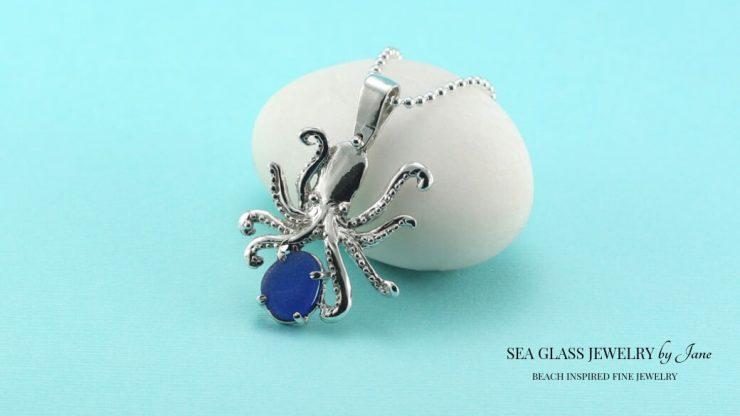 Cobalt Blue Octopus Pendant