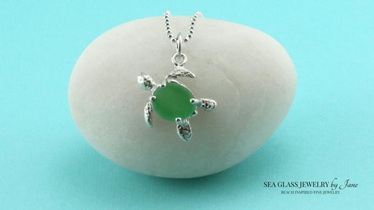 Green Sea Glass Turtle Charm n624 Sea Creature Jewelry Collection