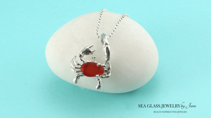 Red Sea Glass Crab Charm n646 Sea Creature Jewelry Collection