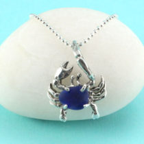 Cobalt Blue Sea Glass Crab Pendant