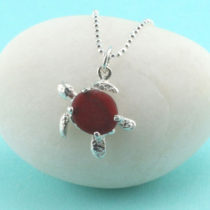 Red Sea Glass Turtle Pendant