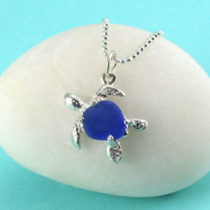 Cobalt Blue Sea Glass Turtle Pendant