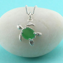 Green Sea Glass Turtle Pendant