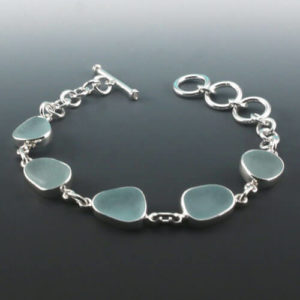 Aqua Sea Glass Bezel Set Bracelet